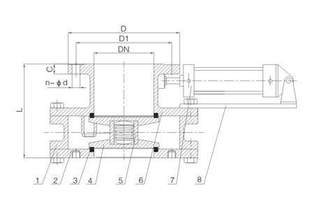 气动耐磨陶瓷盘阀结构图