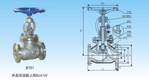 bj41w夹套保温直通式截止阀结构图