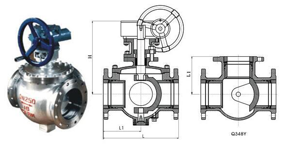 Q48Y半球三通硬密封球阀结构图