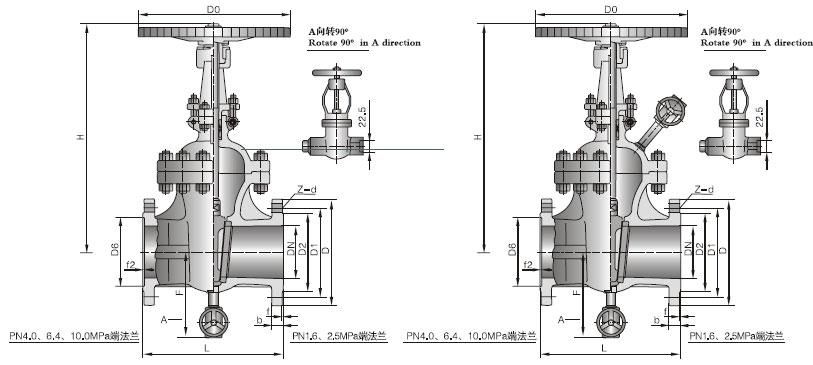 带吹扫孔闸阀结构图 带吹扫孔闸阀详细介绍: 型号 : Z1 仿41H 通经 : 50-400mm 压力 : 250-600LB 带吹扫孔闸阀标准规范: 设计制造标准:GB/T 12234-2007 结构长度标准:GB/T 12221-2005 连接法兰标准:JB/T 79、GB/T 9113 压力温度等级:GB/T 12224-2005 试验检验标准:GB/T 13927-2008 带吹扫孔闸阀特点: 1、带吹扫孔闸阀系列闸阀主体为楔式单闸板双向密封、结构简单、紧凑、密封可靠。 2、吹扫装置可对易结焦、