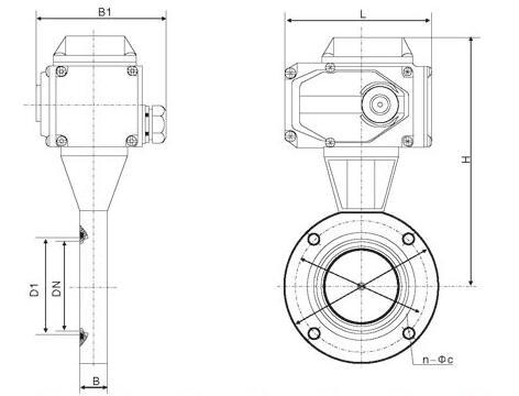 GID型电动高真空蝶阀外形结构图