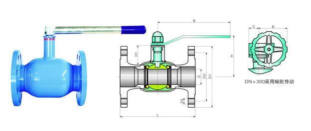 全焊接法兰式球阀尺寸结构图