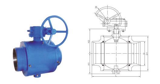 燃氣用全焊接固定式球閥主要外形尺寸