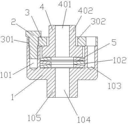 图为本实用新型一种新型阀门的执行机构连接装置的全剖面结构示意图
