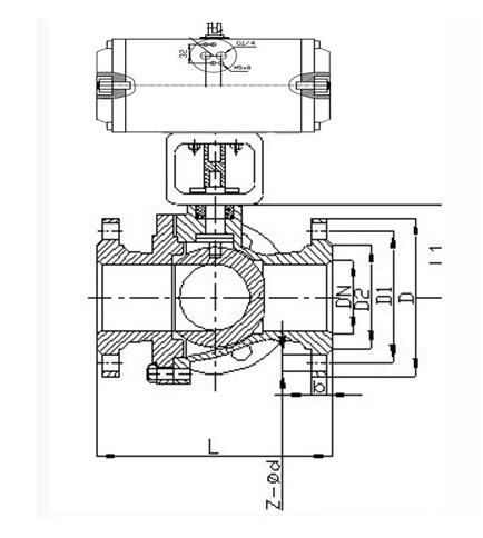 Q641F氣動襯氟球閥主要外形及連接尺寸