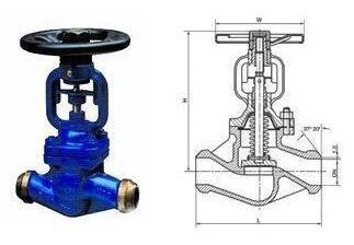 对焊式波纹管截止阀结构图