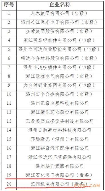 溫州:2017-2018年度龍頭骨干型工業企業培育名單出爐 浙江石化閥門、匯潤機電在列