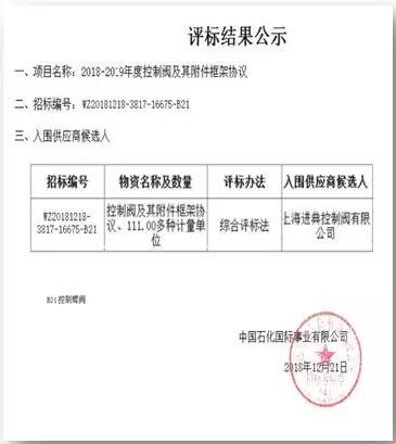JDV荣获2019年度控制阀及其附件框架协议