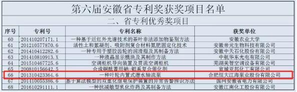 恒大江海泵业荣获安徽省专利优秀奖