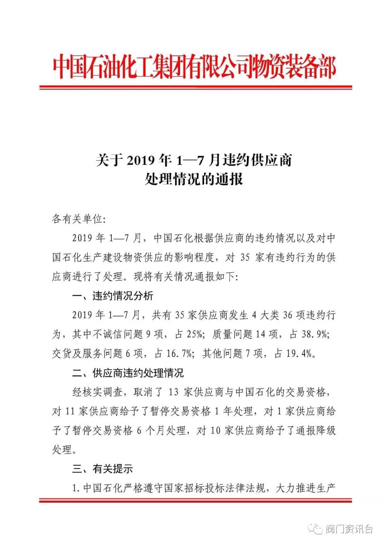 重磅!中国石化通报2019年1-7月违约供应商名单,1家阀门企业被执掌