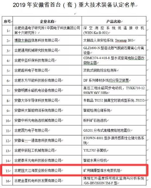 合肥恒大江海泵业产品入选安徽省首台(套)重大技术装备认定