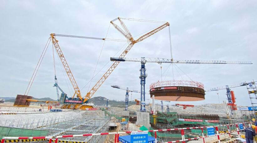 中核集团全球在建第5台华龙一号机组钢衬里模块首吊成功