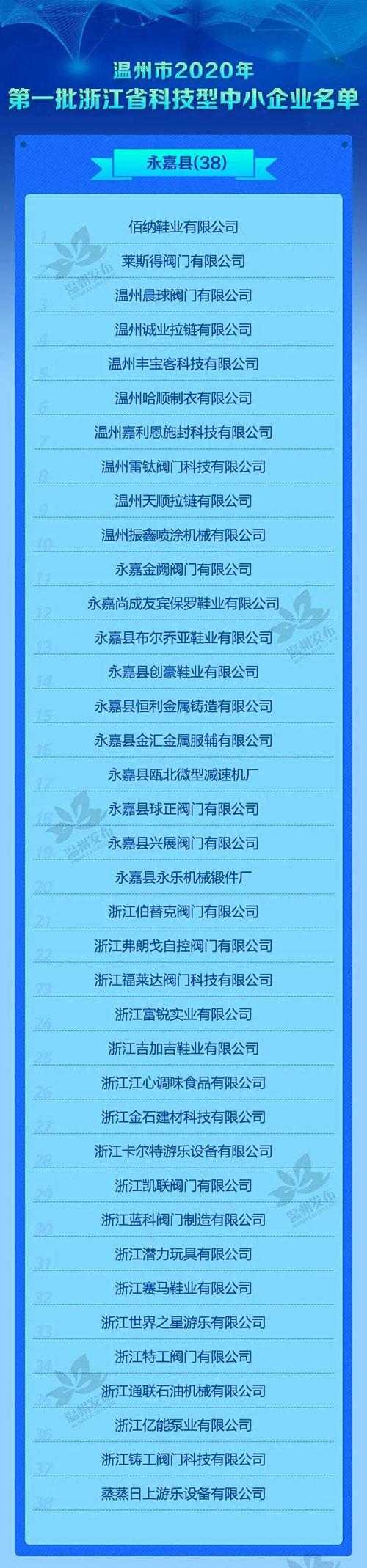 永嘉38家入选!2020年第一批浙江省科技型中小企业名单公布