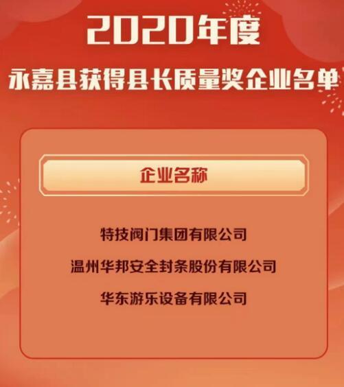 """喜訊!特技閥門集團有限公司榮獲""""永嘉縣長質量獎"""""""