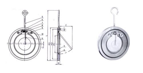 H74 Ⅱ型对夹薄型止回阀