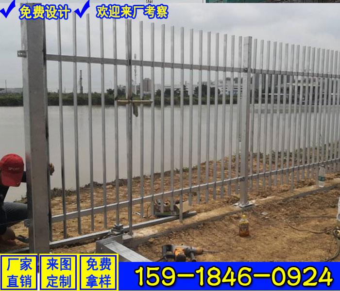 湛江工厂围墙护栏磨砂灰色 定做学校三横杆栅栏价格