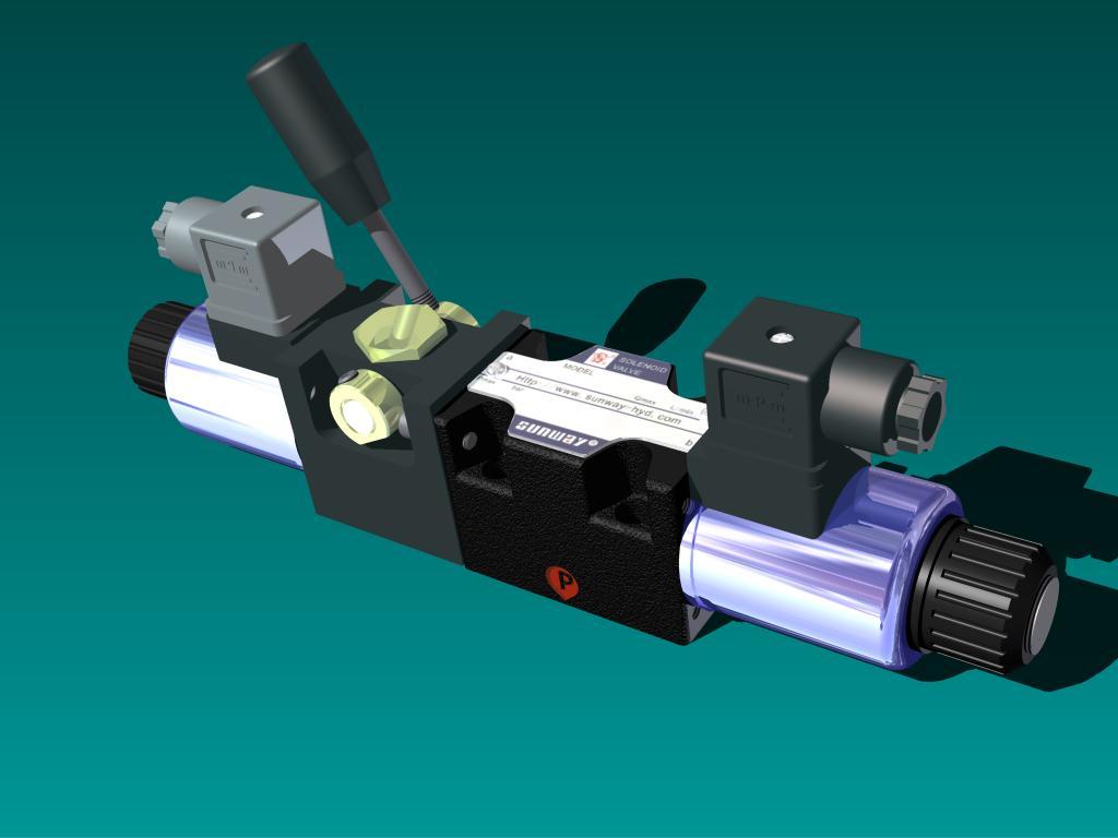 国内独家生产的带应急手柄的电磁换向阀,阀芯形式多样图片